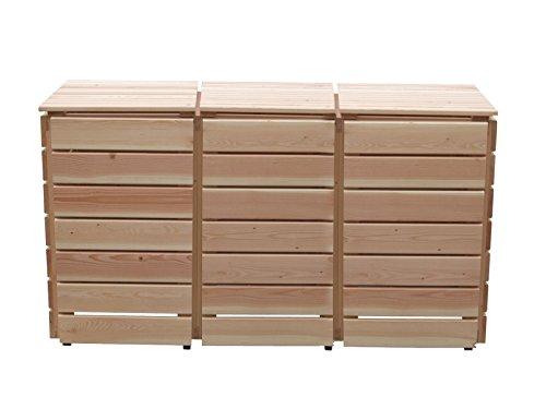 Mülleimerverkleidung Holz, Modell Bilmer, für drei 240 Liter Mülltonnen - 2