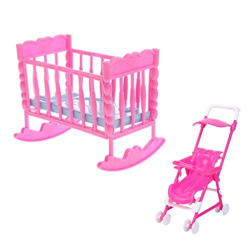 MagiDeal Puppenhaus Schlafzimmer Möbel Schaukelwiege & Babyschale Für Barbie Kelly Puppen Zubehör (Kelly Puppenhaus)
