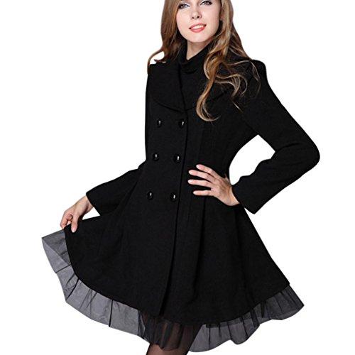 Damen Mantel,DOLDOA Einfarbig Spitze Spleißen Zweireiher Trench Jacke Langarm Windbreaker Jacken (EU: 40, Schwarz,Spitze Spleißen Zweireiher Trench Jacke) (Flirt-print-rock)
