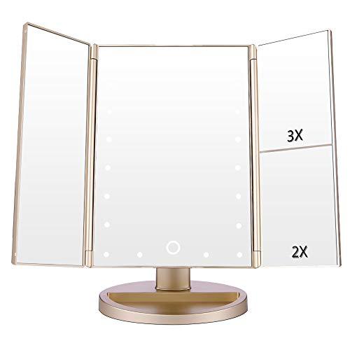 EASEHOLD Kosmetikspiegel mit LED Beleuchtung, Schminkspiegel Beleuchtet für Schminken, Rasieren, Touchschalter für Dimmbare...