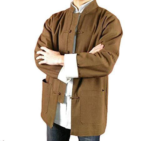 Handgemachte Brauner Kung Fu Tai Chi Feinleinen Jacke von Maßschneider #117