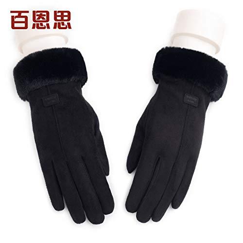 LybGloves Handschuhe Damen Winter reitet warmen Winter dicken Touchscreen fünf Finger im Freien, eine Größe, schwarz