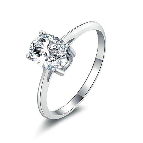 Daesar anello argento sterling donna anelli con incisione ovale bianca tagliata anelli zirconia cubica anello donna taglia 20