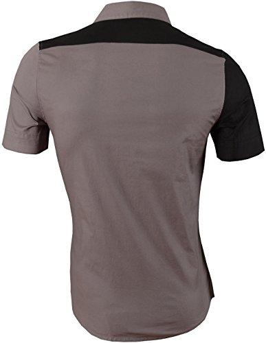 jeansian Herren Freizeit Hemden Shirt Tops Mode Kurzarm Men's Casual Dress Slim Fit 8360 Z002_Gray