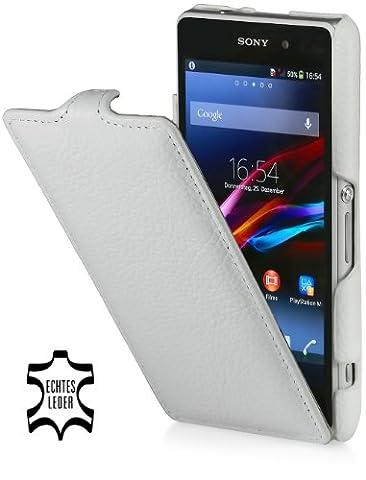 StilGut UltraSlim Case, housse en cuir pour Sony Xperia Z1 Compact, Blanc