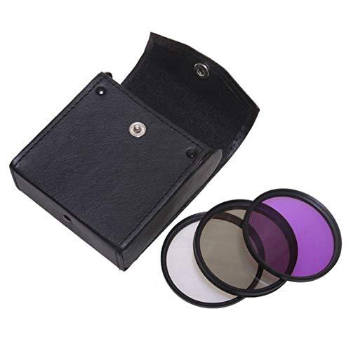 3pcs Filter Objektiv 49mm 52mm 55mm 58mm 67mm 72mm 77mm polarisiert CPL + UV + FLD Kamera-Filter-Set mit Tragetasche für Nikon (schwarz)