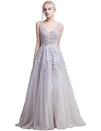Babyonline Damen Rückenfrei Spitze Tüll Abendkleid Lang Ballkleid Hochzeit  Brautjungfernkleid mit Träger 4dd5e644c0