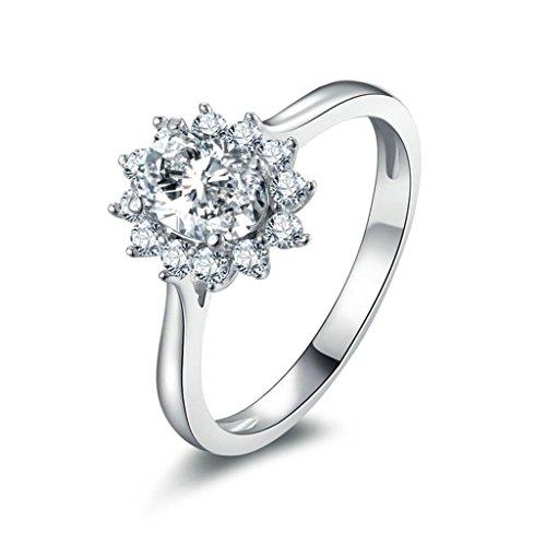 Epinki Damen Ringe, 925 Sterling Silber Damenringe Verlobungsringe Trauringe Blumen Form mit Rund Zirkonia Gr.60 (19.1)