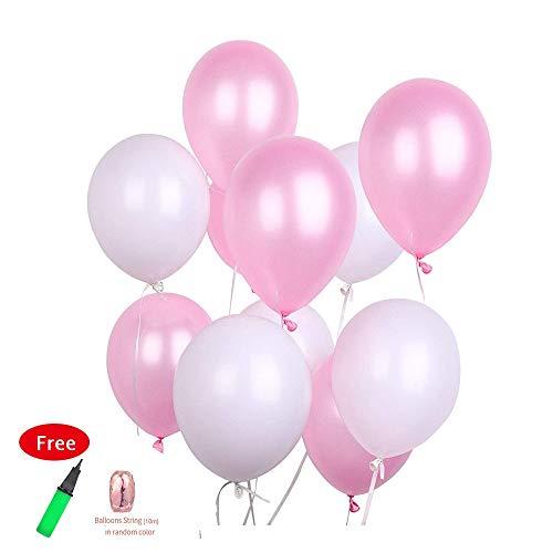 eißen Ballons Kit - 12 Zoll blass rosa Ballons weiße Ballons Taufe Dekorationen Baby Shower Disney Princess Party Engagement & Hochzeit für Mädchen Frauen ()