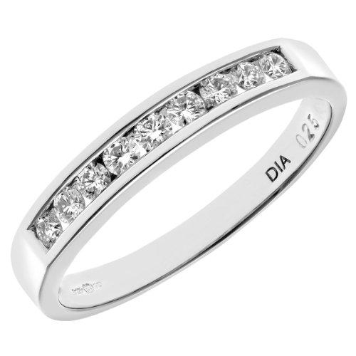 Naava Women's Platinum Channel Set Half Eternity Ring, IJ/I Certified Diamonds, Round Brilliant, 0.25ct