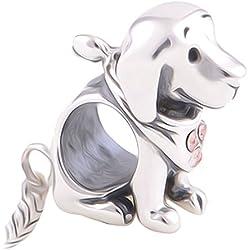 Charm, abalorio de cachorro de Labrador, perro –Plata de ley 925–para Pulseras de cuentas Pandora, Chamilia y Troll–Paquete de Regalo