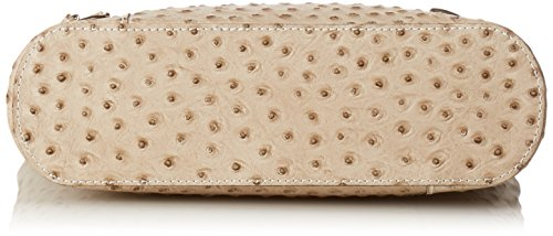 CTM Tasche Damen Leder Schulter Strauß, 28x30x9cm, 100% echtes Leder Made in Italy Grau (Fango)
