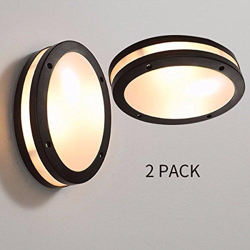 LONFENNE MS -62086 Einfache moderne Wasserdicht 12 W LED-Multifunktionsdrucker als Decken- und Wandleuchte für Innen und Außen (2 Stück), 2 Pack