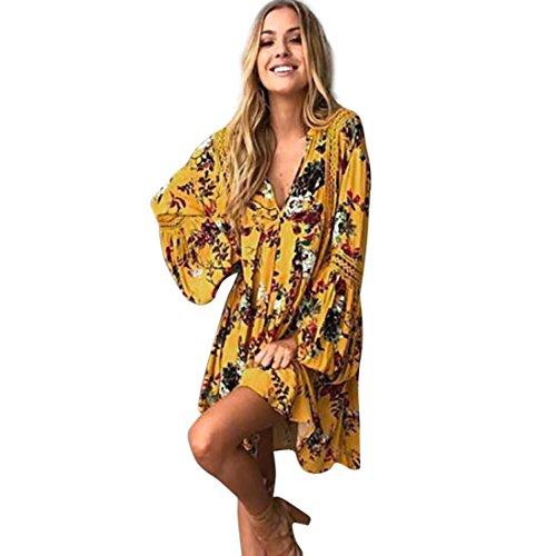 ngs-Art- und Weisefrauen-Blumenmuster aushöhlen lange Schläger Sleeved V-Ansatz Minikleid-asymetrisches Kleid-einteiliges Kleid (XL, Gelb) (Unsere Stadt Kostüme)