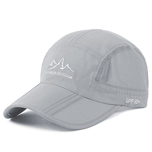 Estwell Sport Trucker Cap Baseballmütze Hut Faltbarer Verstellbar UV Schutz Basecap Baseball Kappe für Damen und Herren (A-hellgrau)