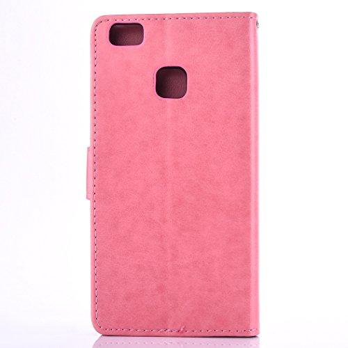 Custodia per Huawei P9 Lite, ISAKEN Flip Cover per Huawei P9 Lite con Strap, Elegante Bookstyle Contrasto Collare PU Pelle Case Cover Protettiva Flip Portafoglio Custodia Protezione Caso con Supporto  Rossa