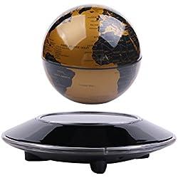 Globo flotante de la levitación magnética, mapa mundial giratorio, control táctil con el LED, grande para la decoración del hogar y de la oficina, aprendizaje, enseñanza, regalo educativo de los niños (Dorado)