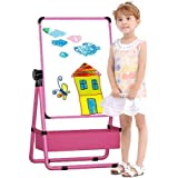 Arkmiido Kids Double-Sided Height Adjustable & 360° Rotating Drawing Green and White Board (Pink)