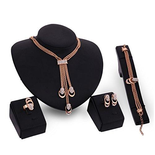 Jagenie 4-in-1-Schmuck-Set mit Halskette, Ohrringen, Ring und Armband, mit Strasssteinen und Quaste, für Damen