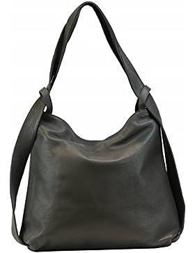 Bozana Bag Mia Dunkelgrau Grau Backpacker Designer Rucksack Ledertasche Damenhandtasche Schultertasche Leder Italy...