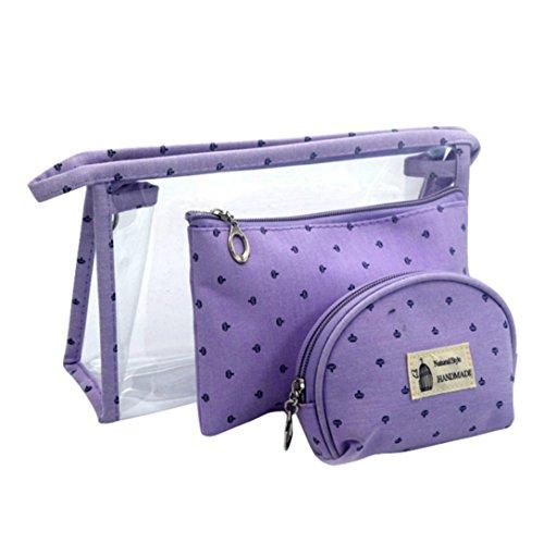 Goodsatar Modische Frauen Make-up Tasche + Brieftasche + Geldbörse Himmelblau