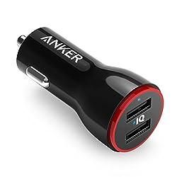 Anker PowerDrive 2 Auto Ladegerät 24W / 4.8A 2-Port USB Kfz Ladegerät Power IQ für iPhone XS/XS Max/XR/X/8/7/ iPad Pro/Air 2 /Mini, Note 5/4, LG, Nexus, HTC/Galaxy S7 / S7 Edge, Powerbank und mehr