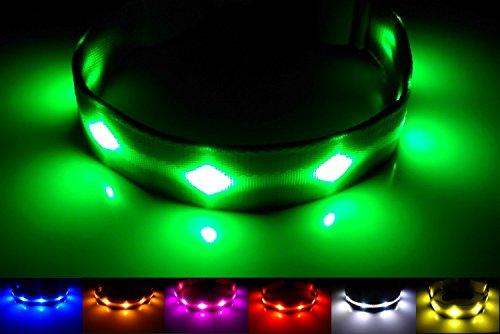 GoDoggie-GLOW - USB Wiederaufladbares LED Sicherheits- Hundehalsband / Hundeleuchthalsband - Super-Hell LED Leuchtet & Blinkt - Einstiegsangebot - Aufladen durch Verbinden mit elektronischen Geräten - Ganz ohne Batterien - Großer Spaß - Grün L.