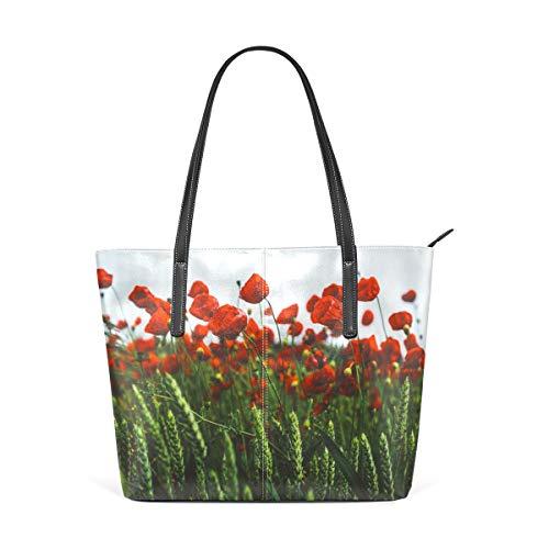 e mit rotem Mohnblumenmotiv aus PU-Leder für Damen und Mädchen ()