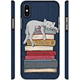 NattyCase Cat Sleeping On The Books Designer 3D Printed Hard Back Case Cover for Apple iPhone X