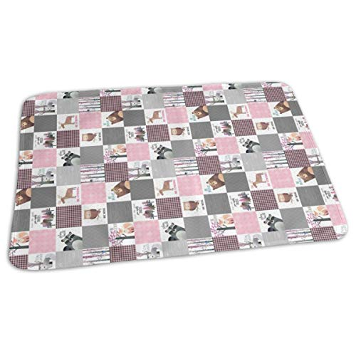 Zcfhike Blocks- Woodland Critters Patchwork Quilt ROTATED - Bear Moose Fox Raccoon Wolf, Grey U0026 Pink Design GingerLous Baby Portable Reusable Changing Pad Mat 19.7X 27.5 inch -