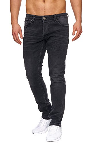 Tazzio Slim Fit Herren Styler Look Stretch Jeans Hose Denim 16533 Schwarz 33/34 - Skinny Stretch Denim Schwarz