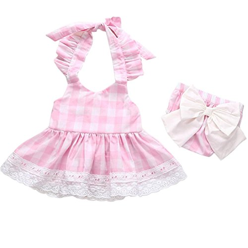 Kolylong For 0-2years baby, Newborn Baby Girls Princess Bowknot Lace Dress+ Shorts backless check pattern Clothes Outfits Set