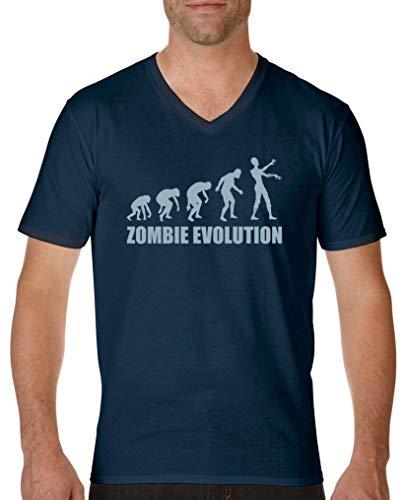 ie Evolution - Herren V-Neck T-Shirt - Navy/Eisblau Gr. XL ()