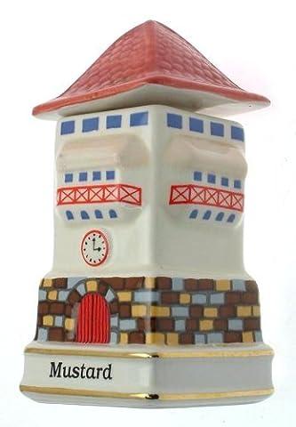 c1993 Danbury Mint Spices of the World German Clock Tower Mustard spice jar - CLT686
