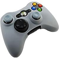 Pandaren® Pelle cover skin per il Xbox 360 controller(grigio) x 1 + pollice presa x 2