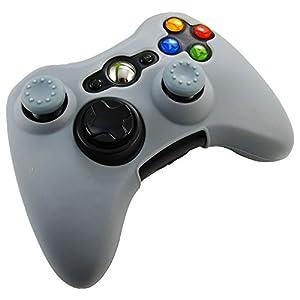 Pandaren® Silikon hülle skin für Xbox 360 controller (grau) x 1 + thumb grip aufsätze x 2
