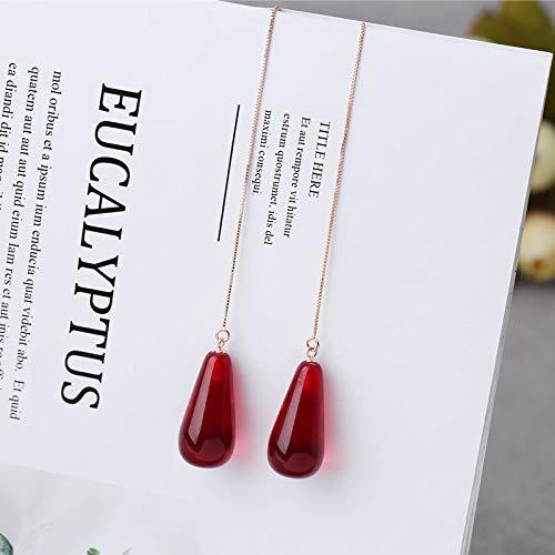 Bienenwachs Ohrringe Lange Naturbernstein Hühneröl Gelb Reinsilber Überzogen 18 Karat Gold Ohrhaken Weibliches Blut Parfüm Rote Ohrringe I