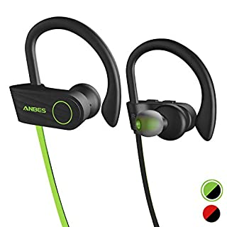 Wireless Headphones, Anbes Bluetooth Headphones IPX7 Waterproof, Up to 8 Hours Play Time, Bluetooth 4.1 Running Wireless Earphones with Ear Hooks & Mic, HD Stereo Sound, Noise Canceling