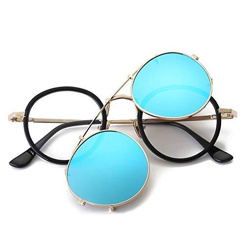 LKVNHP Neue Hochwertige Retro Runde Sonnenbrille Frauen Polarisierte Fahren Sonnenbrille Doppel Objektiv Clip Auf Spiegel Sonnenbrille Männer KlarBlau
