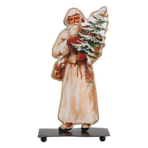 Nostalgische Standfigur aus Blech, ,,Weihnachtsmann mit Christbaum'