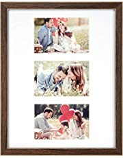 Ayoga 11x14 Collage Picture Frame - Displays 3 4x6 Pictures, Ready to Hang for Family, Babies