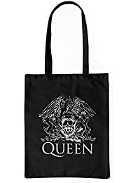 "Bolsa de tela ""Queen"" - tote bag shopping bag 100% algodón LaMAGLIERIA, Negro"
