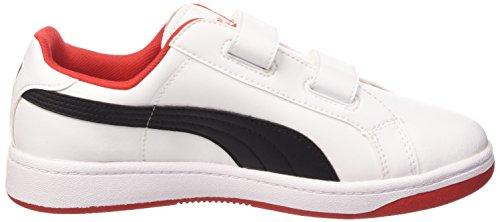 Puma Smash L V Scarpe Tennis, Bambino White/Black/High Risk Red