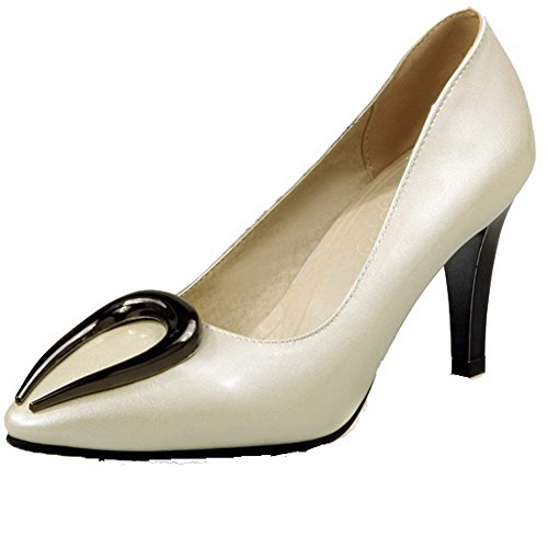 Voguezone009 Senhoras Puxar No Couro Pu Dedo Apontado Calcanhar Alta Bombas Creme Sapatos Inserido