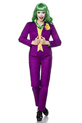 Kostüme Fernsehen (5-teilig Jokerkostüm Kostüm Joker Damen Damenkostüm Halloween Film Fernsehen Bat Bösewicht)