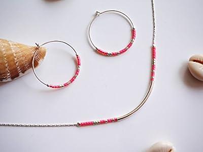 Parure bijoux argent coloré - Collier + boucles d'oreille rose fluo - bijoux fin minimaliste - collier perles - créole argent - bijoux été