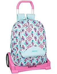 Flamingo Turquoise Ladies Backpack Rucksack Premium Double School Bag 42cm MOOS