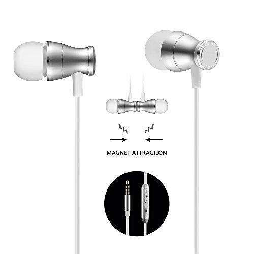 Geabon Cuffie auricolari per Auricolare, Auricolari a filo magnetico auricolari rumore Cancellare auricolari con controllo Mic / Volume, Cuffie Auricolare per Samsung Huawei (Argento)