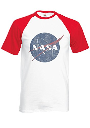 Nasa National Space Administration Logo Vintage Red/White Men Women Unisex Shirt Sleeve Baseball T Shirt-L