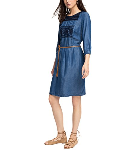 ESPRIT Damen Kleid in Jeans - Optik, Knielang, Gr. 38 (Herstellergröße: M), Blau (BLUE MEDIUM WASH 902)